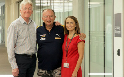 Left to right: FSH Head of Cardiothoracic Surgery and Transplantation Dr Robert Larbalestier, transplant recipient Rodney Western and AHFCTS Nurse Practitioner Clare Fazackerley.