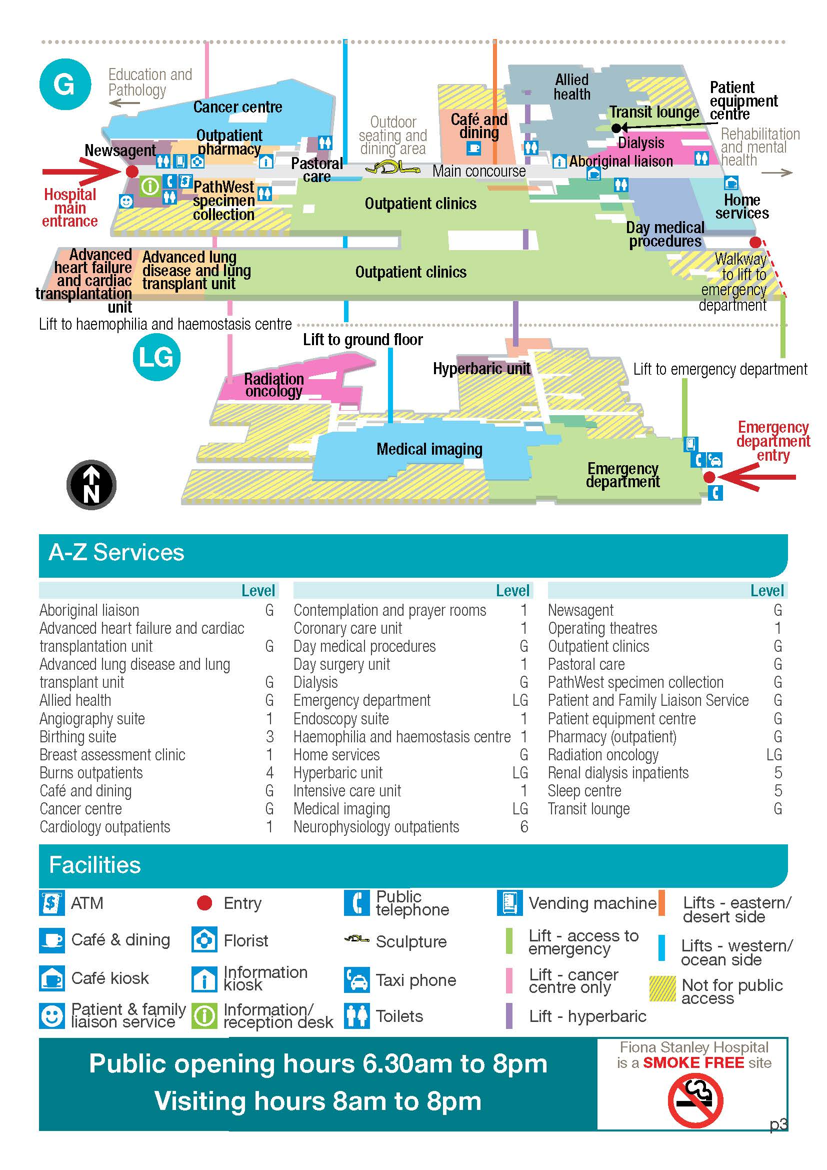 Map Of Arizona Hospitals.Fiona Stanley Hospital A To Z Services Map