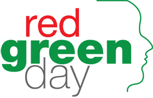 The words 'Red Green Day' with a silhouette of a person's head facing right